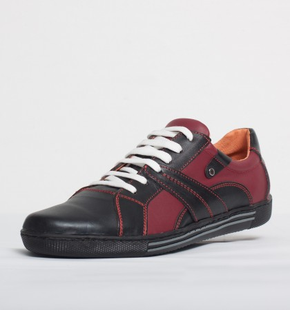 Pantof sport piele naturala Culoare: visiniu si negru de la Vicoveanu incaltaminte piele cod:590