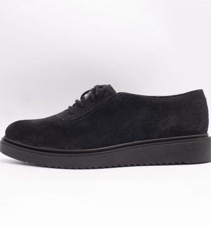 Pantofi casual din piele intoarsa neagra, cod produs 3080 (2)